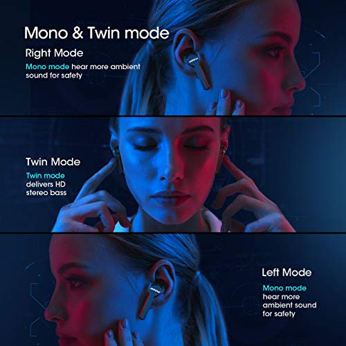 MPOW M9 True Wireless Earbuds w/ 200 Hours Standby and Bass, IPX7 Waterproof Bluetooth 5.0 Touch Key Headphones Charging Case, Wireless Earphones 30 Hours Playtime, in-Ear Mini Headset w/Microphones 2