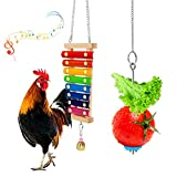 YUEPET Chicken Toys 2 Packs - Chicken Xylophone Toy and Hanging Feeder Chicken Coop Toys for Hens
