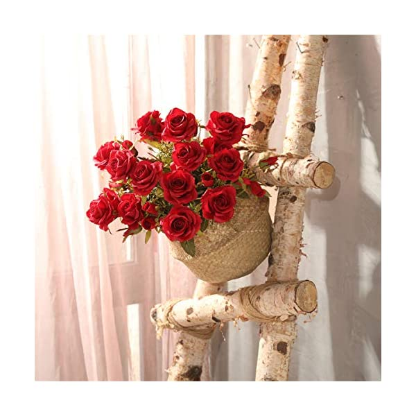 Tifuly Rosas Artificiales, 2 Ramos 12 Flores de Seda Cabezas de Flores Falsos capullos de Rosas para el hogar Oficina…
