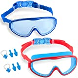 Elimoons Kids Swimming Goggles No Leaking Anti-Fog UV Protection Nose Cover Swim Goggles for Children Age 5-15( 2-Pack )