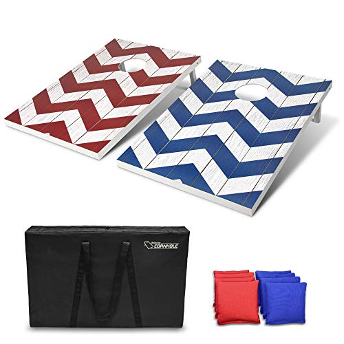 GoSports Chevron Design Cornhole Game Set - Includes Two 3'x2' Boards, 8 Bean Bags and Carry Case,...