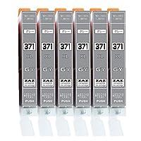 [ZAZ] BCI-371XL GY グレー6本セット canon 互換インク ICチップ付 残量表示可能 〔 BCI-371XLGY グレー 6本 〕 ( BCI-371XL+370XL/6MP or BCI-371XL+370XL/5MP 対応の 371XLグレー)( XLの大容量タイプ) 対応機種: PIXUS TS9030 / TS8030 / MG7730F / MG7730 / MG6930 対応 FFPパッケージ(371GY)