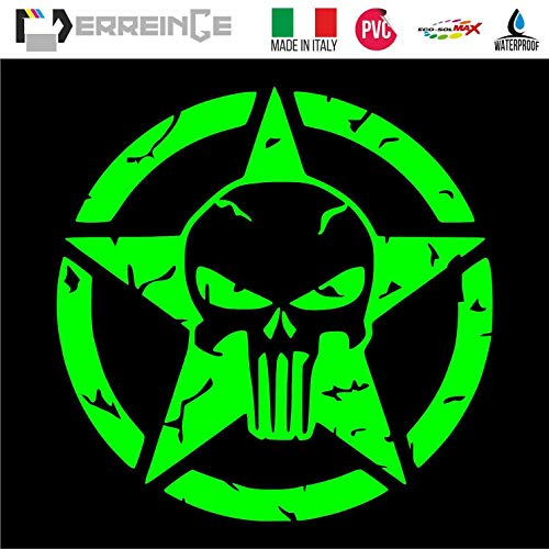 erreinge PRE-Spaced Sticker GRÜN Fluo 20cm - Punisher Stern Militär Army US - Aufkleber Decal Vinyl Wandgemälde Laptop Auto Motorrad Helm Wohnmobil