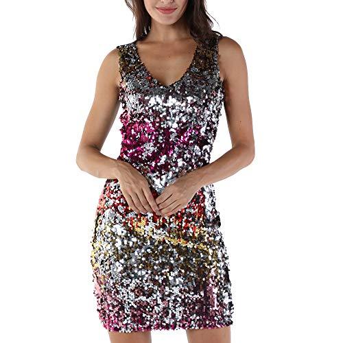 Longra Damen Paillettenkleid Minikleid Ärmellos V-Ausschnitt Sparkly Glitzer Cocktailkleid Abendkleid Partykleider Bodycon Etuikleider Festliche Kleider für Silvester Neujahr Fasching (L, Rot)