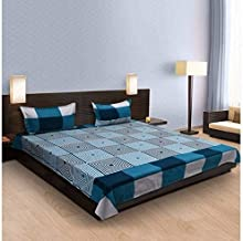 Geo Nature 100% Cotton Double BedSheet for Double Bed with 2 Pillow Covers, Queen Size Bedsheet, 144 TC, 3D Printed Pattern
