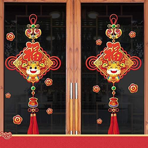 ADLOASHLOU Etiquetas engomadas de la Ventana del año Nuevo Chino, Etiquetas engomadas de la Pared de la calcomanía del año del Buey 2021, Decoraciones del Festival de Primavera decoración 2#