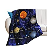 Ktbean EFOEKY Solar System Ultra Soft Fleece Blanket for Kids Adults Universe Planets Lightweight Cozy Plush Flannel Blanket for Sofa/Couch/Living Room/Bed Galaxy Decor Throw Blanket,40'×50'