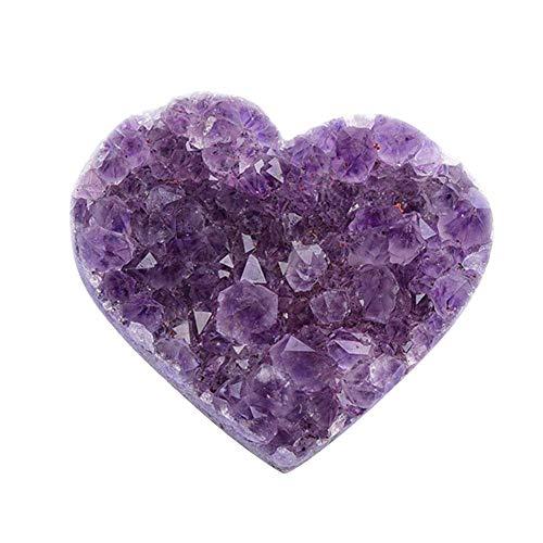 Chuanfeng Natürlicher Amethyst Herzform Kristallquarz Heilstein für Home Decoration Ornament Collection Purple