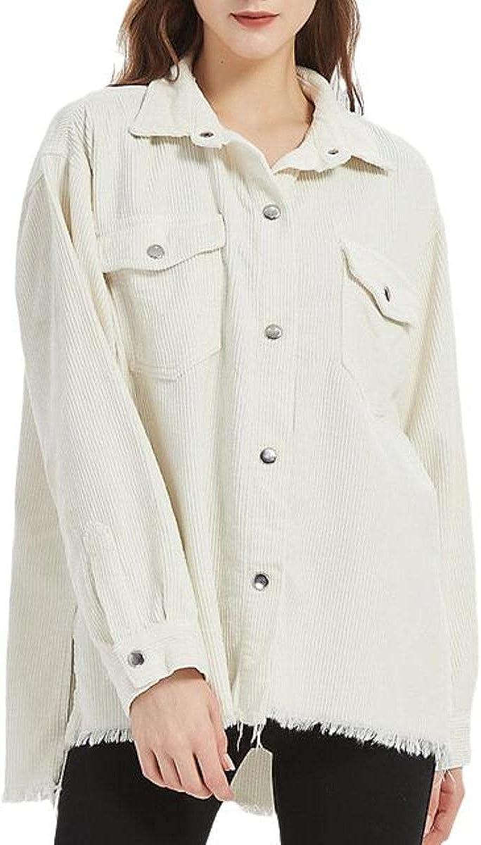 Women's Denim Jacket Plus Size Ripped Jacket Fashion Female Spring And Autumn Girl's Corduroy Shirt Multi-pocket Jacket