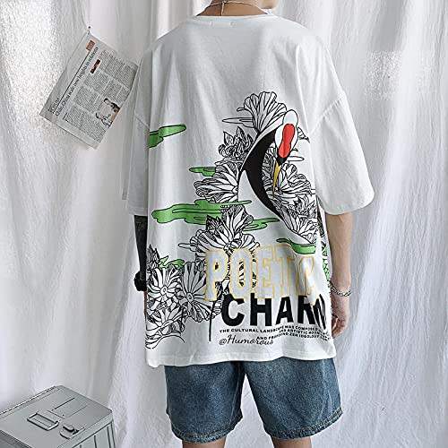 Camiseta De Manga Corta T-Shirt Camiseta De Hip Hop De Gran Tamaño con Monopatín Blanco Y Negro Ropa De Calle De Manga Corta T-Shirt-T771_F_XXL_For_90-95Kg