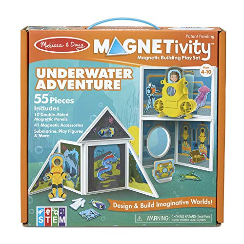 Melissa & Doug Magnetivity Magnetic Tiles Building Playset - Underwater Adventure with Submarine (55 Pieces, STEM Toy)