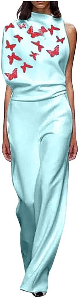 ZSBAYU Women's Vintage Print Loose Casual Baggy Sleeveless Long Jumpsuit Playsuit Trousers Pants Wide Leg High Waist Jumpsuit