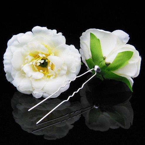 Utsunomiya® à briquet Zippo magnifique Glamour épingles à cheveux fleurs en tulle Beige en dentelle Lace Perle de mariage mariage cérémonie cheveux bijoux