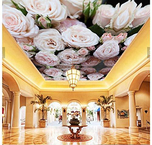 Muurschilderingen Aangepaste 3D HD Behang Mooie Roze Plant Bloem Rose Mural Plafond Woonkamer Slaapkamer Woonkamer Hotel Achtergrond Muursticker 450(w)x300(H)cm