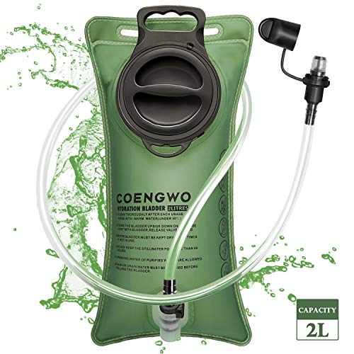 COENGWO Water Reservoir Bladder Hydration Bladder 2 Liters BPA Free Water Storage Bladder Bag Water Bladder Hydration Packs Bladder Replacement for Hiking Camping Cycling Traveling Army Green 0