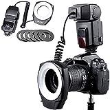 Flash De Anillo Macro ML-150, GN10 Con 6 Anillos Adaptadores De Lentes Intercambiables, Adecuado Para Cámaras SLR Canon Nikon Pentax Olympus Sony, Temperatura De Color: Luz De Anillo De Cámara 5600K