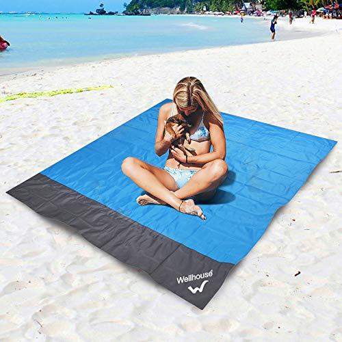 Gecheer Alfombras de Playa Portátil Extra Grande, Esterilla Playa Impermeable Plegable, Alfombras de Picnic Portátil y Ligero, con 4 Estaca Fijo, para la Playa, Camping y Picnic (Azul - L)