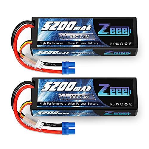 Zeee 7.4V Lipo Battery 2S 5200mAh 80C Hard Case Battery with EC3 Plug for 1/8 1/10 RC Vehicles Car Traxxas Slash X-Maxx RC Buggy Truggy RC Airplane UAV Drone(2 Packs)
