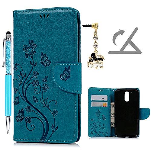 Geniric Funda Moto G4 Plus, Funda Libro de Cuero Impresión de Flor, Flip Cover para Moto G4 Plus, Wallet Case con Soporte Plegable (Funda Azul + Lápiz Capacitivo + Enchufe Anti del Polvo)
