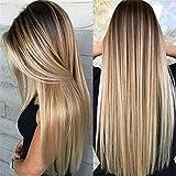 Sección media peluca de pelo largo y recto Set de cabello teñido en degradado Fashion Lady Wig