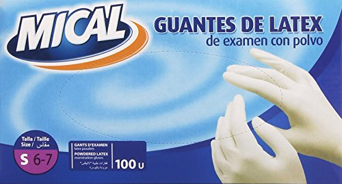 Mical - Guantes de latex de examen con polvo - talla S/6-7, 100 piezas