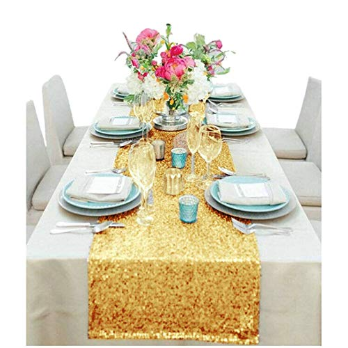Wholesale Shinny Gold Sequin Table Runner 12''108'' Gold Sequin Table Runner for Sale