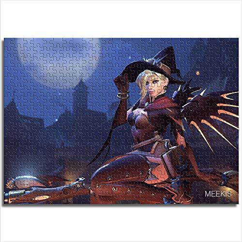 JieXi Mi binbin Rompecabezas de Papel clásico Overwatch Angel Halloween Skin 38x26cm Mini 1000 Piezas de Juguetes de Entrenamiento Cerebral para Hombres, Mujeres y niños