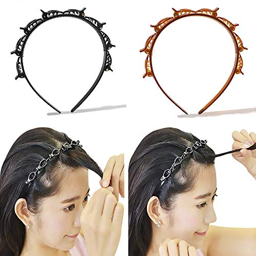 Headbands for Women Head bands Hair Bands for Girls Thin Plastic Headband with Clips, Fashion Braided Headbands Double Layer Twist Plait Hair Tools, Double Bangs Hairstyle Hairpin for Work out