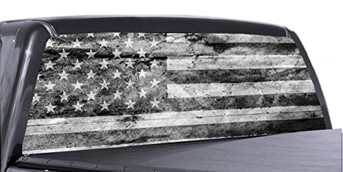 60' x 20' Black and White American Flag Distressed Truck Rear Window Tint Perforated Vinyl Graphic