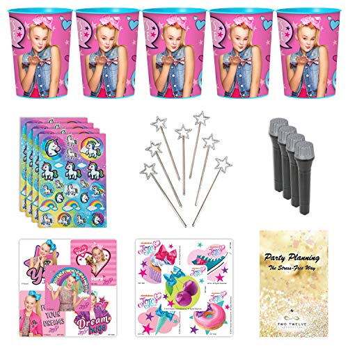 JoJo Siwa Party Favor Cup and Stickers and Other Goodies, 12 Guests, 72 Pieces, Birthday Goody Bag