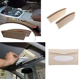 MotoPanda Combo of Car Seat Catcher (Set of 2) Car Organizer Catch Caddy+ Sun Visor Tissue Box Holder (Beige Color) With Free Tissue .