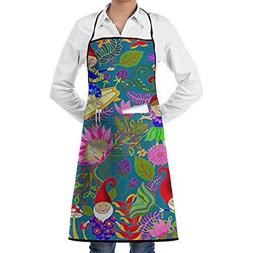 Katrine Store Hawaiian Gartenzwerge verstellbare Latzschürze mit 2 Taschen, Kochen Küchenschürzen für Frauen Männer Chef