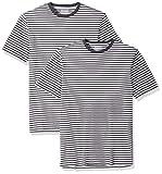 Amazon Essentials Men's 2-Pack Slim-Fit Short-Sleeve Crewneck Stripe T-Shirt, Black/White, X-Large