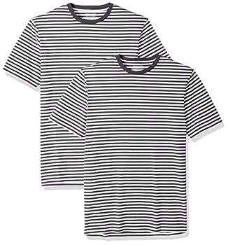 Amazon Essentials Men s 2-Pack Slim-Fit Short-Sleeve Crewneck Stripe T-Shirt Black/White X-Large