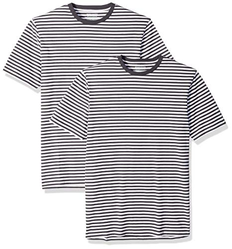 Amazon Essentials - Pack de 2 camisetas de manga corta con cuello redondo y diseño a rayas para hombre, Negro/Blanco, US XS (EU XS)
