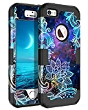 Casetego Compatible with iPhone 5 5S SE Case,Floral Three Layer Heavy Duty Hybrid Sturdy Shockproof Protective Cover Case for Apple iPhone 5 5S SE Case,Mandala