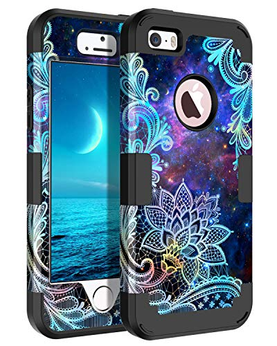 Casetego Compatible iPhone 5 5S SE Case,Floral Three Layer Heavy Duty Hybrid Sturdy Armor Shockproof Protective Cover Case for Apple iPhone 5 5S SE Case,Mandala