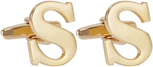 Salutto Men's Gold Alphabet Cufflinks 1 Pair with Gift Box