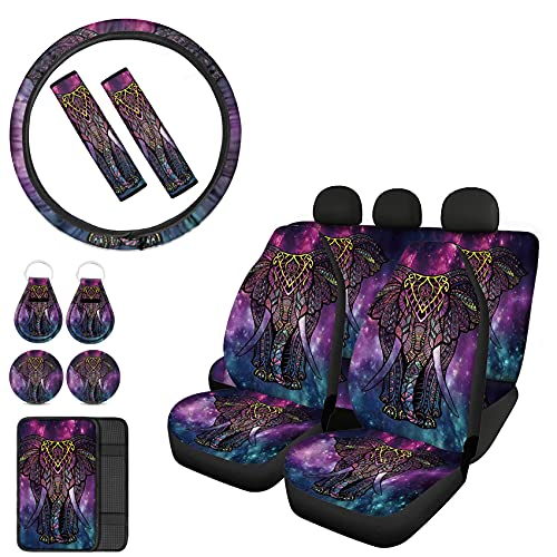 Belidome Funda de asiento de coche Boho Galaxy Elefante para asiento completo de volante, cojín de apoyabrazos, almohadillas para cinturón de seguridad, llavero posavasos, paquete de 12