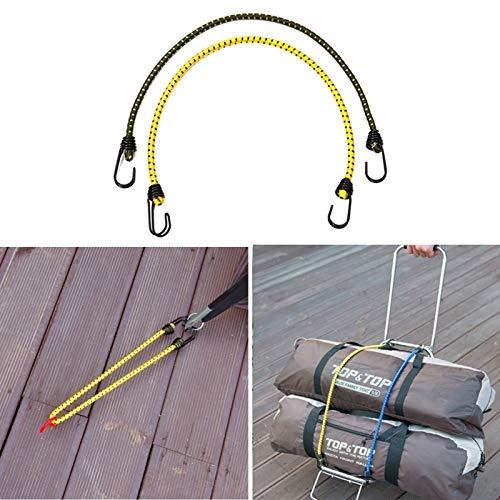 2 PCS Zelt Rohes elastisches Seil Gebunden Hohe Gepäckseil Wäscheleine Camping, Länge: 60 cm, Durchmesser: 8 mm, Zufällige Farbe Lieferung, Convenient Verpackung