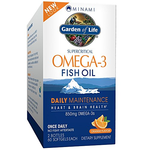 Minami Nutrition Garden of Life Supercritical Omega-3 Fish Oil, 60 Soft Gels each, 850mg, 2 Pack