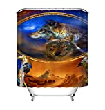 Nyngei Dreamcatcher Wolf Star Duschvorhang Badezimmer wasserdichtes Gewebe Dekor Matte Haken 183X183CM