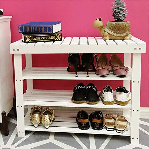 HLL Zapatero Espacio Simple para el Hogar Polvo de Madera Maciza Taburete Moderno Simple para Zapatos Almacenamiento para Dormitorio Armario para Zapatos Economía,Blanco,60X30X55Cm