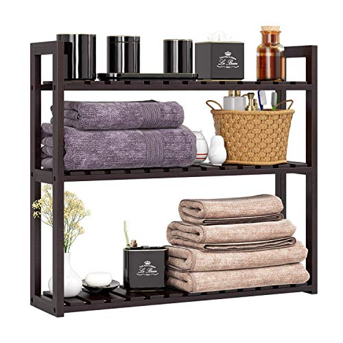 HOMFA Bamboo Bathroom Shelf 3-Tier Multifunctional Adjustable Layer Rack Wall Mounted Utility...