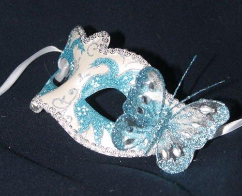 Life Is Good Dames Luxe Pearlised Masque avec Papillon Argent ET Turquoise Carnaval VENITIEN Mascarade Parti Masque