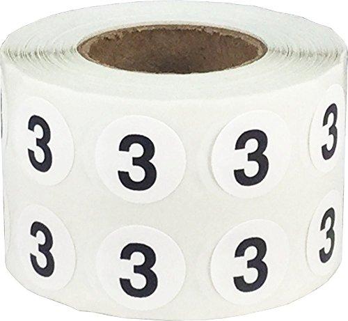 Número 3 Etiquetas Circulares, 13 mm 1/2 Pulgadas Etiquetas de Inventario 1000 Paquete