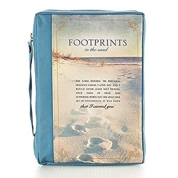 Christian Art Gifts Men/Women s Bible Cover Footprints Blue Canvas Medium