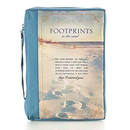 Footprints in the Sand Inspirational Poem Blue Poly Canvas Bible Cover for Women Medium Zippered Case for Bible or Book w/Handle