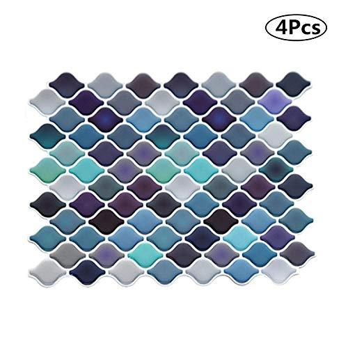 Pegatinas de Azulejos Cocina Baño Mosaico Pegatinas Azulejos Adhesivos de Pared 25 * 21 cm (4 hojas)