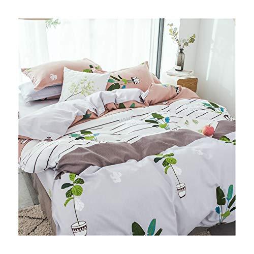 Epinki Sängklädesset i 4 delar av polyester, lakan och påslakan och 2 x örngott krukväxt mönster ventilerande sängkläder set grå brun orange